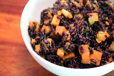 Black Rice with Scallions and Sweet Potatoes (Healthy, Vegetarian, Vegan, Asian]