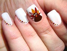 White Nails Polka Dots Turkey Thanksgiving Nail Art
