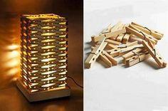 Lámpara de pinzas #manualidades #creatividad #decoración