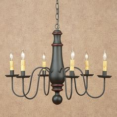 Primitive Colonial Period Style Norfolk 6-Arm Woodspun Chandelier in ...