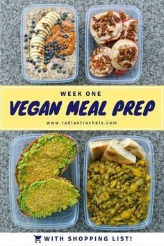 For our weekdays, we like to keep our meals simple, nutritious, and satiating to keep us going throughout the day. This vegan meal prep helps save money and makes sure you have healthy grab-and-go fuel to set you up for a busy day. As the token vegetaria Vegetarian Meal Prep, Vegan Meal Plans, Healthy Meal Prep, Vegan Vegetarian, Healthy Eating, Eating Vegan, Vegetarian Italian, Vegan Weekly Meal Plan, Healthy Protein