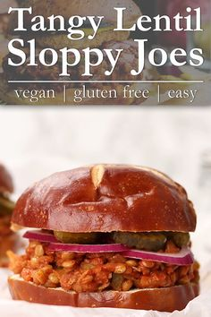 Grab a fork, napkin and those tangy toppings, we're getting sloppy y'all! Freezer friendly Tangy Lentil Sloppy Joes are tender, slightly spicy and oh SO crave-worthy. Serve these easy vegetarian sandwiches up with your favorite tater tots, fries or potato salad. Vegan + gluten free. #lentil #sloppyjoes #sandwich #vegan #glutenfree | VanillaAndBean.com @VanillaAndBean