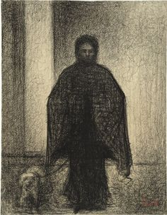 Georges-Pierre Seurat (French, 1859–1891) Woman with a Dog (Femme avec chien) Date:c. 1882-83Medium:Conté crayon on paper