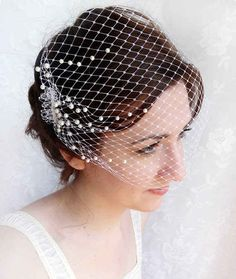 Birdcage veil with scattered pearls adorning the sides.