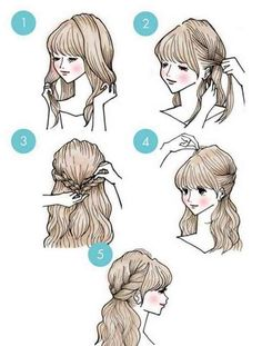 Cute Simple Hairstyles, Fast Hairstyles, Pretty Hairstyles, Braided Hairstyles, Hairstyle Short, Easy Diy Hairstyles, Stylish Hairstyles, Medium Hairstyles, Everyday Hairstyles