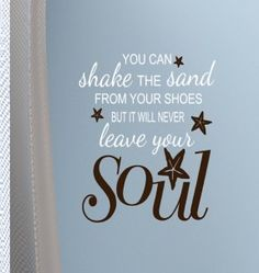 Beach decor decal words you can shake the sand from your shoes vinyl wall decals with starfish on Etsy, $33.00