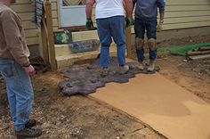 How to Stamp Concrete Patios and Floors Outdoor Fun, Outdoor Ideas, Backyard Ideas, Outdoor Spaces, Outdoor Living, Concrete Patios, Stamped Concrete, Block Wall, Glass Blocks