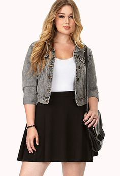 Simply Stated Skater Skirt | FOREVER21 PLUS - like the whole outfit would look good with jeans too