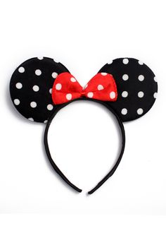 Minnie Mouse Ears Headband Black Red Polka Dot Bow Party Favors Costume Mickey for sale online Minnie Mouse Headband, Disney Headbands, Disney Mickey Ears, Ear Headbands, Minnie Mouse Party, Mickey Mouse, Disney Diy, Disney Crafts, Headband Styles