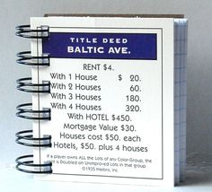 MONOPOLY Property Card NOTEBOOK Game Card by CampfireDesigns, $2.50