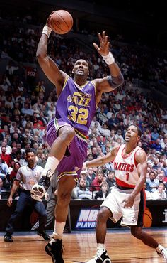 Karl Malone Utah Jazz Rod Strickland Portland Trail Blazers
