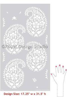 Wall Stencils | Indian Paisley Damask Stencils | Royal Design Studio