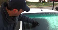 Mandens simple trick fjerner is fra bilruden på 1 sekund