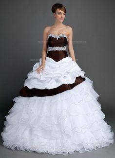 Taffeta Wedding Dresses Ball-Gown Sweetheart Sweep Train Taffeta Organza Wedding Dress With Lace Beading Cascading Ruffles - Affordable Wedding Dresses, Wedding Dresses For Sale, Cheap Wedding Dress, Wedding Party Dresses, Bridal Dresses, Wedding Reception, Colored Wedding Gowns, Wedding Dress Organza, Lace Dress