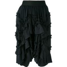 Faith Connexion ruffled knee-length shorts ($970) ❤ liked on Polyvore featuring shorts, black, faith connexion, knee length shorts, silk shorts, flounce shorts and long shorts