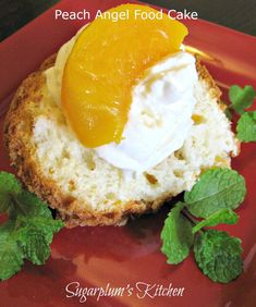 Only 2 ingredients are needed for this delicious cake. a box of Angel Food cake and a 15 ounce can of undrained diced peaches. Angle Food Cake Recipes, Sponge Cake Recipes, Dump Cake Recipes, Ww Recipes, Dessert Recipes, Cooking Recipes, Dump Cakes, Dessert Ideas, Healthy Recipes