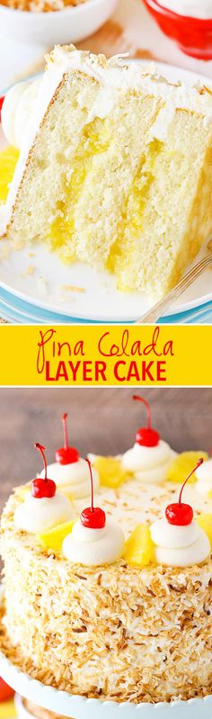 This Pina Colada Layer Cake has moist layers of coconut cake, homemade pineapple filling and coconut frosting!