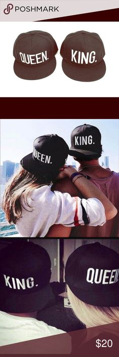 King and Queen Snap Backs Set of 2 Brand New hats that make great ! Perfect wedding gift or cute picture prop for wedding photos! Also for confident couples. Only ☝️ more item for 15% off Accessories Hats