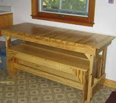Make A Table Benches Tucked Under But Put Cushion On Each And Extend Top
