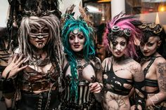 Just your average group of Post apocalyptic, #cybergoth and #steampunk girls at The Vanilla Party in NYC 2013 with Melissa Saurus Wrecks two fro the right.