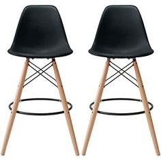 2xhome - Set of Two (2) - Black - 26.5 inches Eames Style DSW Molded Plastic Bar Stool Modern Barstool Counter Stools with backs and armless Natural Legs Wood Eiffel Legs Dowel-Leg 2xhome http://www.amazon.com/dp/B01BL29M40/ref=cm_sw_r_pi_dp_Aw17wb0FM2G8Z