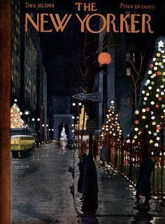 New Yorker cover December Magazine cover illustration The New Yorker, New Yorker Covers, Christmas Cover, Christmas Art, Vintage Christmas, Xmas, Christmas Sketch, Illustration Noel, Christmas Illustration