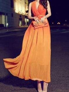 Orange Dip Dye Wrap V-neck Sleeveless Belt Chiffon Maxi Dress | Choies