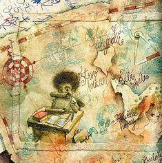 Art Journal Pages, Art Journals, Inspiring Art, Various Artists, Illustrators, Vintage World Maps, Inspiration, Literatura, Biblical Inspiration