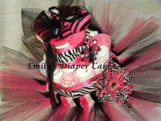 Diaper Cakes By Emily Black And Pink Zebra Tutu