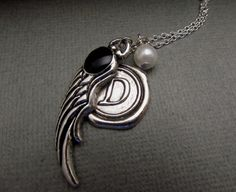 Monogramed Wing Necklace Personalized Vintage by 4Everinstyle, $26.00