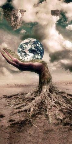 Surreal Hand From Roots in the Ground, Holding the Earth in the Sky with Clouds Digital Art Illustration, Surreal Art, Photo Manipulation, Mother Earth, Amazing Art, Fantasy Art, Cool Art, Art Photography, Street Art