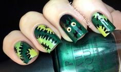 ... go full out for a party!   Franken-mani from Nail Polish Wars
