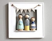 Frame and Personalized Custom Family Portrait of 3 // Anniversary Gifts Couple //  Unique Family Portrait // Wooden Peg Dolls