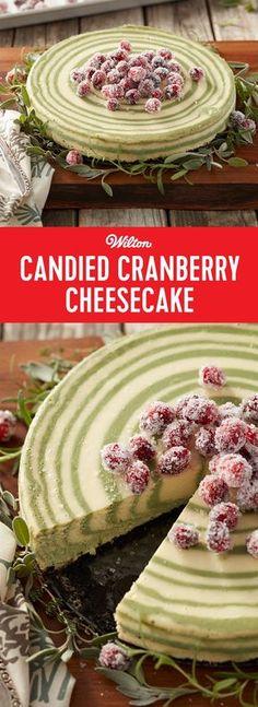 Candied Cranberry Cheesecake - Though it looks challenging, this cheesecake recipe is very easy to make. The striped effect is done by alternatively pouring white and green batter into a springform pan, then the cheesecake is decorated with lovely candied cranberries and fresh herbs. A stunning holiday dessert that your friends and family will love, this Candied Cranberry Cheesecake is sure to become a holiday favorite. #cheesecakerecipe #christmas #holidaybaking #wiltoncakes