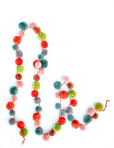 Multicolor Pompom Garland - could easily DIY this!