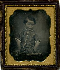 1846-Sixth-Plate-Daguerreotype-Portrait-Young-Girl-Calico-Dress-Half-Case