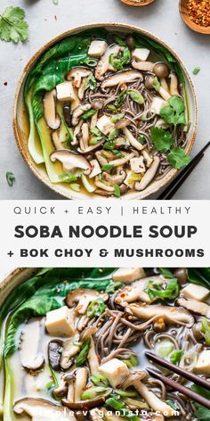 Bok Choy & Wild Mushroom Soba Noodle Soup – The Simple Veganista A hearty and delicious Soba Noodle Soup recipe with bok choy, mushrooms, tofu, and green onions in a miso broth comes together in under 30 minutes! Vegan and gluten-free recipe. Bok Choy Recipes, Soup Recipes, Whole Food Recipes, Recipe With Bok Choy, Drink Recipes, Vegan Recipes Easy, Asian Recipes, Vegetarian Recipes, Clean Eating Vegetarian