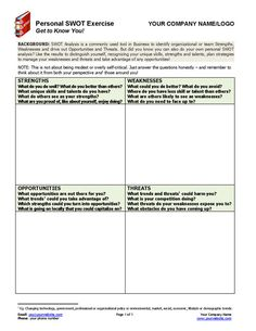 This Personal SWOT Exercise helps your clients identify their personal Strengths, Weaknesses, Opportunities and Threats. http://www.thecoachingtoolscompany.com/products/personal-swot-analysis/ A key life, executive and career coaching tool providing top-notch material for goal setting, career discussions, authentic living, self-confidence boosting and much more. An essential coaching resource for all coaches!