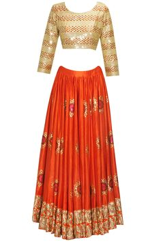 Orange sunflower embroidered motifs lehenga set availaible only at Pernia's Pop Up Shop.