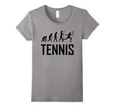 Women's Funny Tennis Shirt: Tennis Player Evolution Small Slate * Check this awesome product by going to the link at the image.