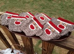 Sock monkey bottle cozies - HanksDesign.etsy.com
