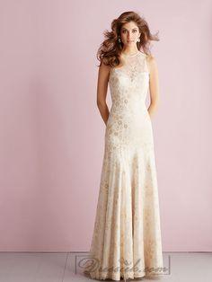 Sheer High Neckline Sheath Column Lace Appliques Keyhole Back Wedding Dresses