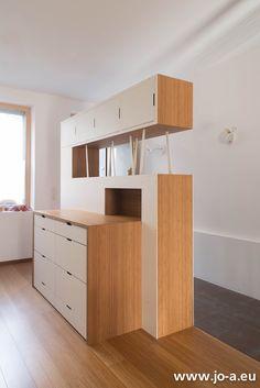 Modular free standing steel and wood storage unit. Hallway unit. The ...