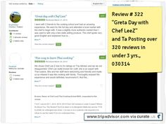 """CHef LeeZ review # 322 """" Great Day With Chef LeeZ"""" and TA posting of our having over 320 reviews in under 3 years. Clipped from www.tripadvisor.com"""