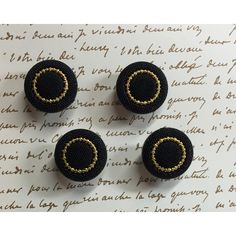 Vintage Button Push Pins Black and Gold Thumb Tacks Statement Home Decor 4 New Vintage Stock Button Push Pins ($7) found on Polyvore featuring women's fashion, jewelry and brooches
