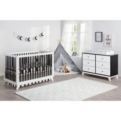 Are you trying to buy nursery furniture but afraid it be modern in style? Check out this Rowan Valley Flint Convertible Crib - White & Black - shop now! Nursery Furniture Sets, Toddler Furniture, Furniture Deals, Dresser Sets, 6 Drawer Dresser, Changing Dresser, Mdf Frame, Crib Sets, Convertible Crib