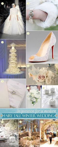 Modern fairytale wedding inspiration from a towering wedding cake to a reception turned into a winter wonderland scene in pretty white florals. #inspirationboards #winterweddings #cinderellaweddings