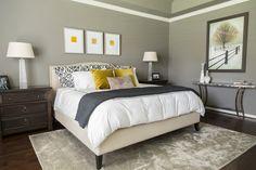 Bedroom remodel; bed; bedding; rug; lamp; lighting; mirror; table   Interior Designer: Carla Aston / Photographer: Tori Aston