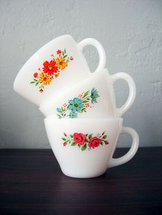 vintage cups from CashewPickle on etsy - fire king mugs floral granny dishes