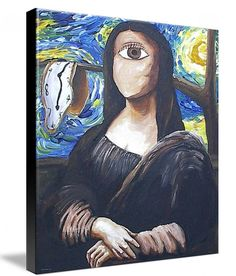 Abstract Giclee art Print on Stretched Canvas 8x10  Mona Lisa Van Gogh Salvador Dali clock starry night Leonardo da Vinci via Etsy